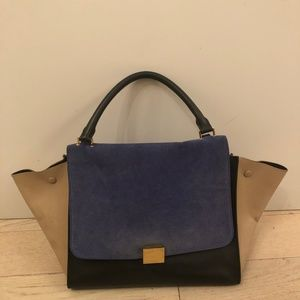 Celine Trapeze Bag Black Leather